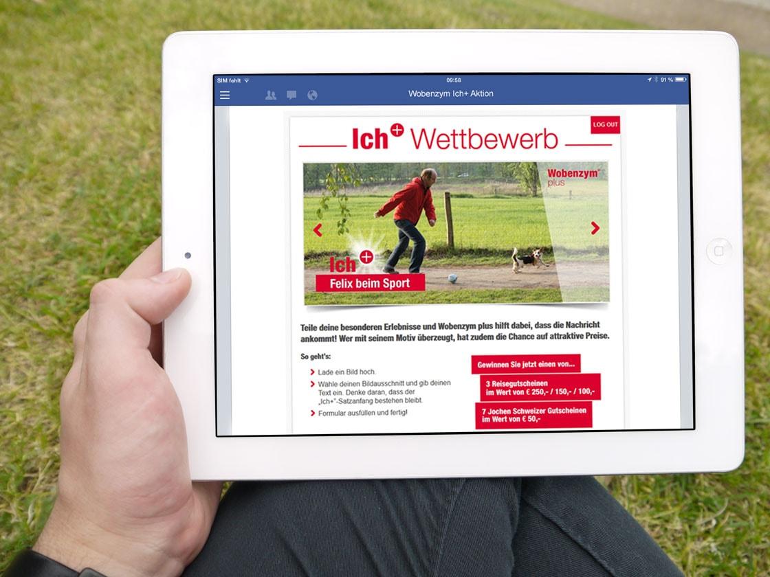 Facebook-App Wobenzym Ich+ auf dem iPad