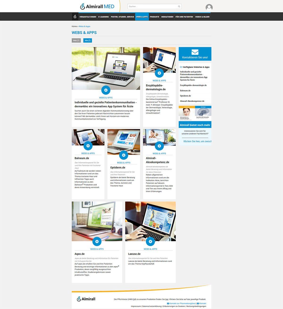 Newsbereich Webs&Apps www.almirallmed.de