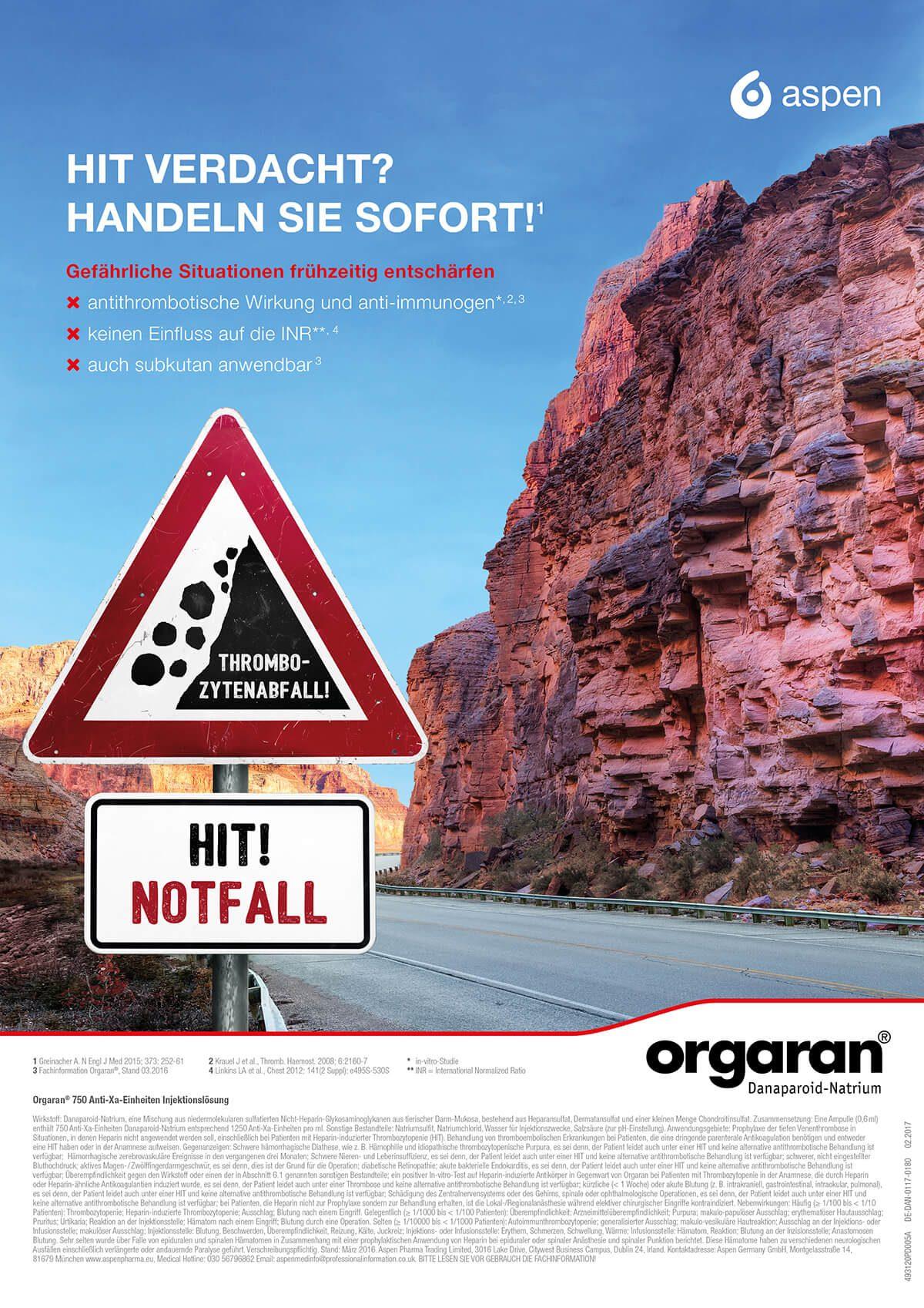 Anzeige für das Medikament Orgaran von Aspen