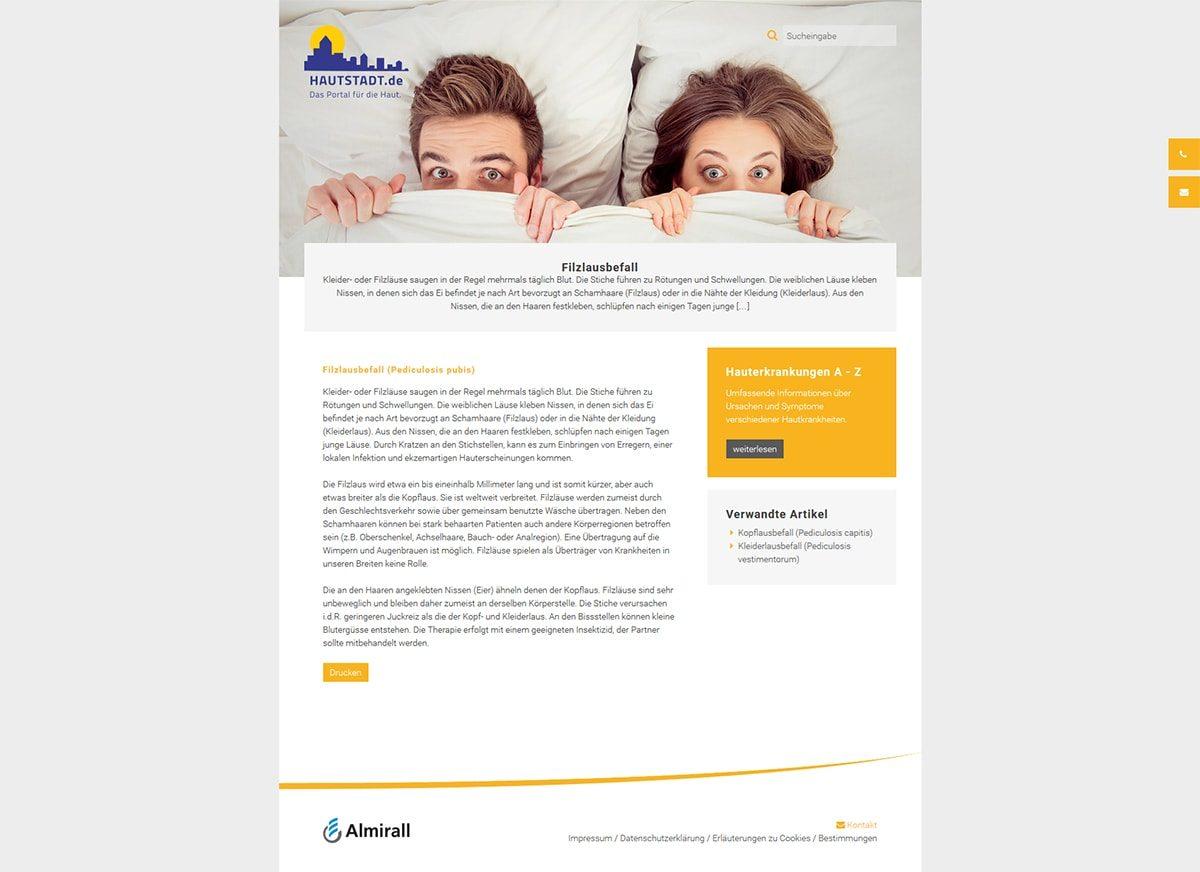 Screenshot Unterseite der Website www.hautstadt.de von Almirall