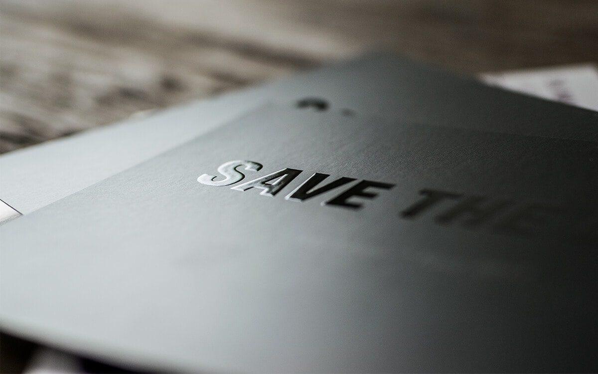 Save the date-Flyer mit individueller Veredelung Allergan